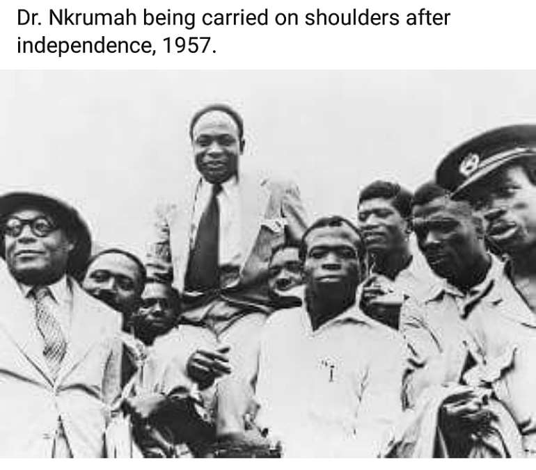 Dr. Kwame Nkrumah being carried on shoulders after independence, 1957