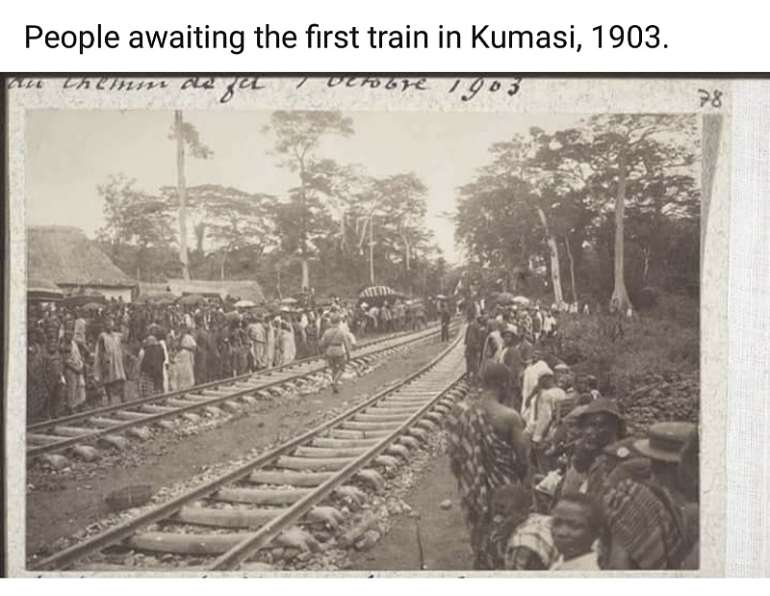 People waiting for the first train in Kumasi, 1903