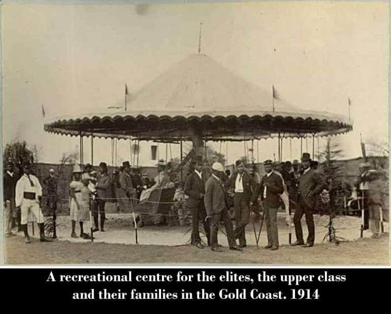 A recreational centre for the elites, the upper class and their families in the Gold Coast. 1914 . These were people who had gone to study in England and had become professionals in their fields so of course, had a different lifestyle from the rest of Gold Coasters.  I heard the current location of the Bank of Ghana was a place where the upper class used to hang out so I assume it's the same place.