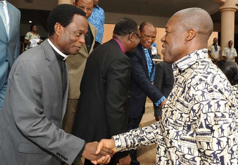 H.E KWESI AMISSAH-ARTHUR BEING WELCOMED BY  APOSTLE. DR. OPOKU ONYINAH FOR THE GOLDEN JUBILEE SERVICE OF THE BIBLE SOCIETY OF GHANA   AT PENTECOST INTERNATIONAL
