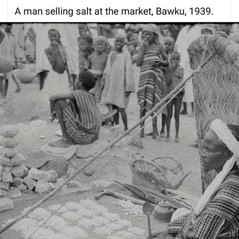 A man selling salt at the market, Bawku, 1939