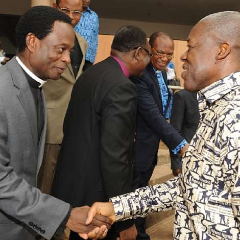 H.E KWESI AMISSAH-ARTHUR BEING WELCOMED BY  APOSTLE. DR. OPOKU ONYINAH FOR THE GOLDEN JUBILEE SERVICE OF THE BIBLE SOCIETY OF GHANA   AT PENTECOST INTERNATIONAL 2