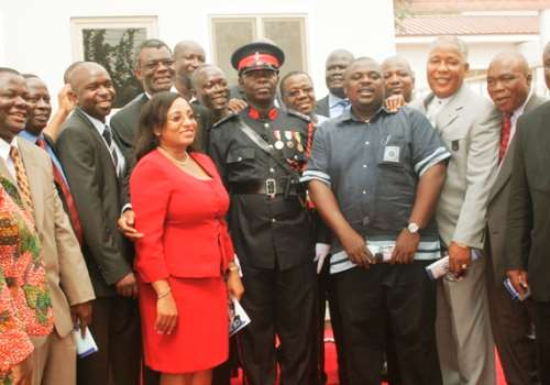 SOME MINISTERS AND CASTLE STAFFERS POSE WITH OFFICER CADET EMMANUEL ADADE