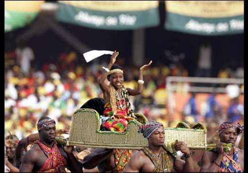 Musicians perform during the opening ceremony moments before the first match of the 2008 Africa Cup of Nations