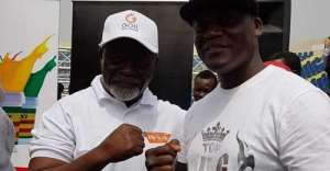 Former two-division boxing world champion Azumah Nelson and promoter Lawrence Nyanyo Nmai