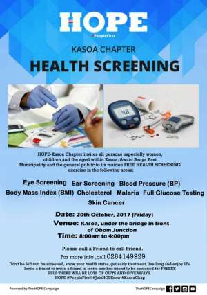 Biggest Health Festival To Hit Kasoa, As HOPE Leads Campaign