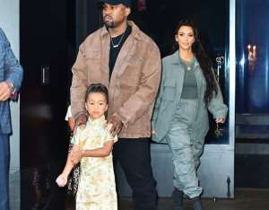Kanye West with wife Kim Kardashian and daughter North West