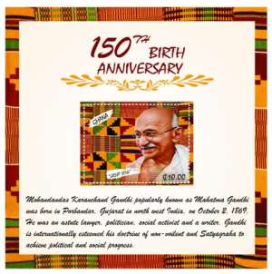 Ghana Post Issues A Commemorative Stamp To Mark the 150th Anniversary of Mahatma Gandhi