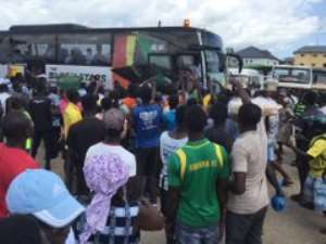 PICTURES: Black Stars Interact With Fans At Mankessim Ahead of South Africa Game