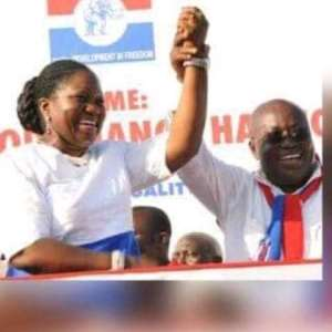 Madam Patricia Appiagyei, MP for Asokwa with her hands raised by Nana Addo Dankwa Akufo Addo during the 2016 campaign
