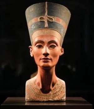 Bust of Nefertiti in Neues Museum, Berlin, Germany.