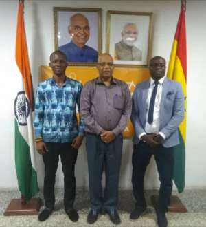 From left, Mr Apetorgbor, Mr Santana and Mr Keteku in a group photograph after the meeting
