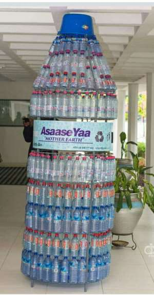 How One Artist Is transforming Discarded Plastic Bottles Into Waste Bins In Ghana