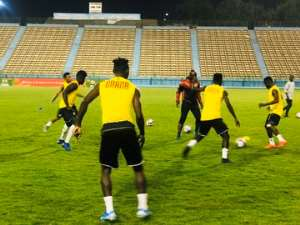 PICTURES: Black Meteors Hold Final Training Session Ahead Of Cameroon Clash Tonight