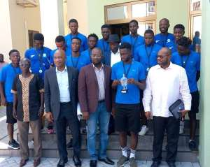 Keta Sunset BSC Presents Copa Lagos Champions Cup To GFA President