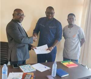 From Left: Mr Nelson Godfried-Executive Chaiman Of SSC, Sherif Ghali-CEO Of GCYE, Justice Offie Jnr-PRO, GCYE