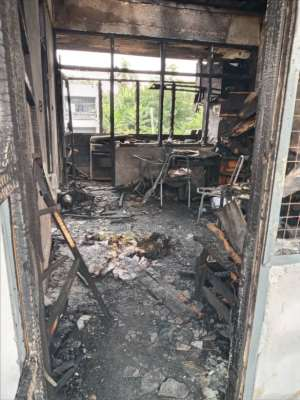 One of the rooms and all of its content badly burnt by the fire