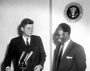 President John F Kennedy Meets with the President of the Republic of Ghana Osagyefo Dr Kwame Nkrumah  - Source: Wikimedia Commons