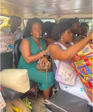 MP For Ada Joins Accra Trotro To Her Ada Town