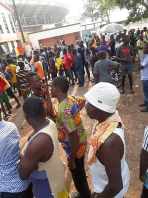 Hearts v Kotoko: Fans Queue For Tickets 7 Hours Before Kick Off