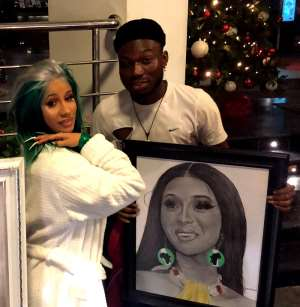 Cardi B, Management, Meet with Celebrity Pencil Artist Alesh Akeem