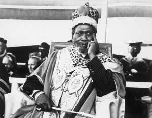President Jomo Kenyatta, wearing a gold and scarlet robe and leopard cap, is installed as Chancellor of the University of Nairobi in December 1970.  - Source: Getty Images