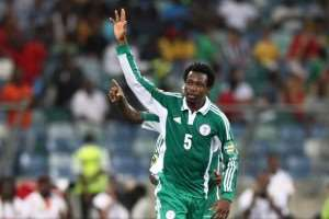 13868344_DURBAN SOUTH AFRICA - FEBRUARY 06 Efe Ambrose of Nigeria celebrates during the 2013 Oran-1590964