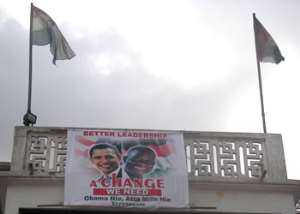 NDC flies Mills/Obama flags