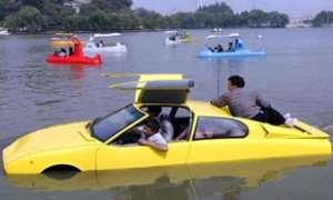 Man builds amphibious car
