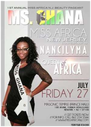 Nancilyma Aidoo to represent Ghana in the Miss Africa New Jersey Pageant 2012
