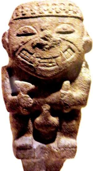 Stone Figure Of Man With Rice Teeth, San Agustin, Colombia, Now In Ethnologisches Museum, Berlin, Germany