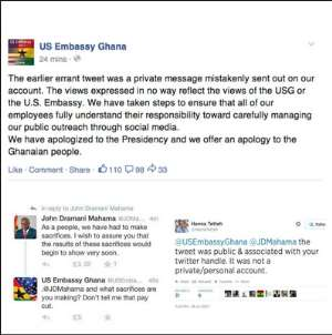 The US Embassy Tweet Was No Accident: America Has Concerns  Over Mahama's Gov't
