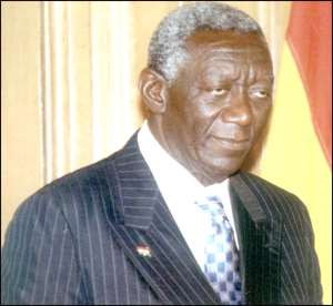 Gbevlo Lartey squeezes Kufuor