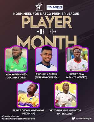 Yahaya Mohammed, Justice Blay And Three Other Up For GHPL Player Of The Month Award