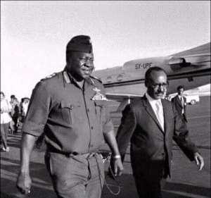 Amin arrives in Addis Ababa, Ethiopia aboard the Ugandan presidential jet for the AU Heads of State conference (1973).