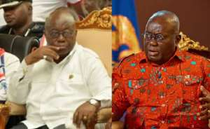 Left and right photographs, Nana Akufo Addo of old and current looks