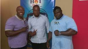L-R-Victor Baiden, President of WABBA, Michael Ahorlu, Vice President Of WABBA And A Bodybuilder
