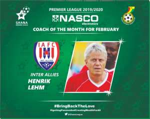 Henrik Lehm Of Inter Allies Wins February NASCO Coach Of The Month Award
