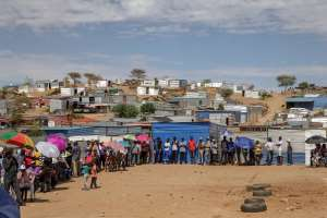 Namibians queue to vote. Fewer and fewer cast it for the ruling party SWAPO. - Source: Photo by Gianluigi Guercia/ AFP) (Photo by GIANLUIGI GUERCIA/AFP via Getty Images)