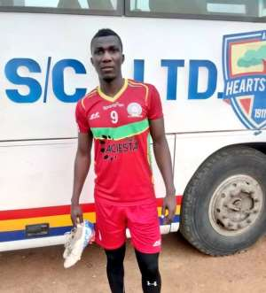 Striker Abednego Tetteh To Feature For Hearts When GPL Resumes