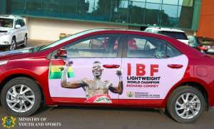 Richard Commey Receives Toyota Corolla From President Nana Addo
