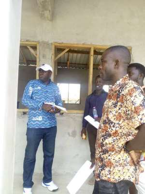 Asene Manso Akroso DCE Inspects Ongoing Projects At Akyem Manso