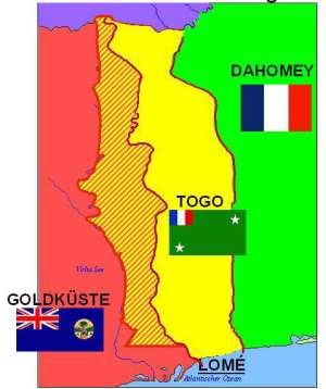 German First World War map showing Gold Coast, TVT (in stripes) Togo and Dahomey