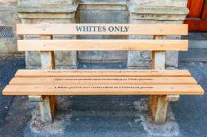 A bench set aside for whites only during the Apartheid era