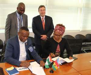 Signing Photo- The partnership is initially expected to  be rolled out in Côte d'Ivoire, Ghana, and Nigeria.  Photo: UNDP