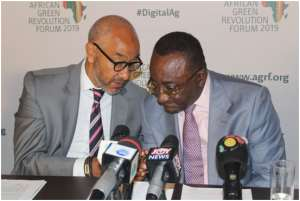 Dr. Owusu Afriyie Akoto in a chat with Mr. Frank Braeken, AGRA Board Member after the launch