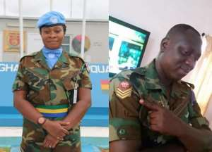 Warrant OfficerJabez Arthur, 45yrs,and his wife Warrant Oficer IISarah Kuadzi, 40yrs,died in floods at Adjei Kojo as they drove through the rainsin a military pick-up.