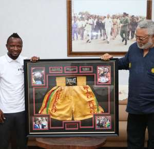 Agbeko Pays Courtesy Call On Former President Rawlings