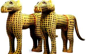 Pair of leopard figures, now in Her Majesty, the Queen of the United Kingdom, Admiral Rawson Collection. London, UK. The commanders of the British Punitive Expedition force to Benin in 1897 sent the pair of leopards to the British Queen soon after the looting and burning of Benin City.