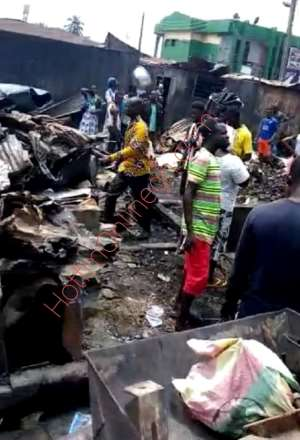 Madina Market Hit By Fire Disaster